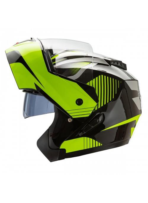 Cruizer Casco Moto Modulare Integrale Doppia Visiera Omologato Nero Giallo