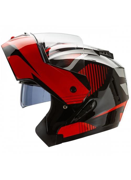 Cruizer Casco Moto Modulare Integrale Doppia Visiera Omologato Nero Rosso