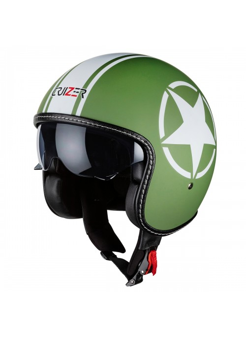Casco moto Demi Jet Custom Scooter Omologato Verde Stella Bandit visiera sole a scomparsa