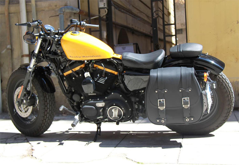 Borsa singola laterale Moto Custom Universali Mono Chopper Nero