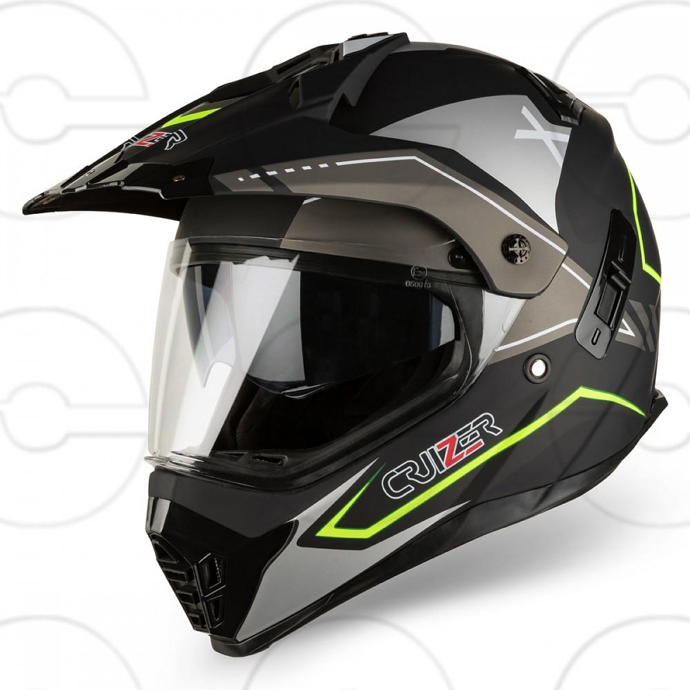 CRUIZER Casco Moto Cross Caschi Fuoristrada Enduro Doppia Visiera Nero Opaco Giallo