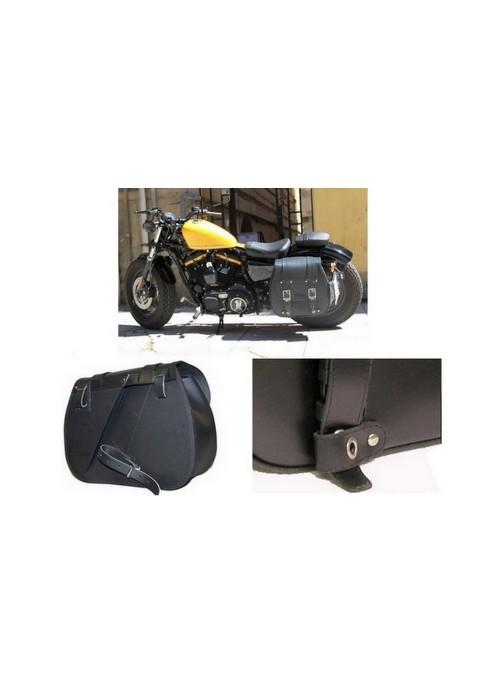 Monoborsa laterale per moto Harley custom in pelle doppio rexion con incavo per ammortizzatore e 3 fibie