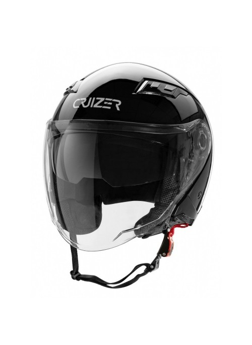 CRUIZER - Casco per moto Jet di colore nero lucido omologato con doppia visiera