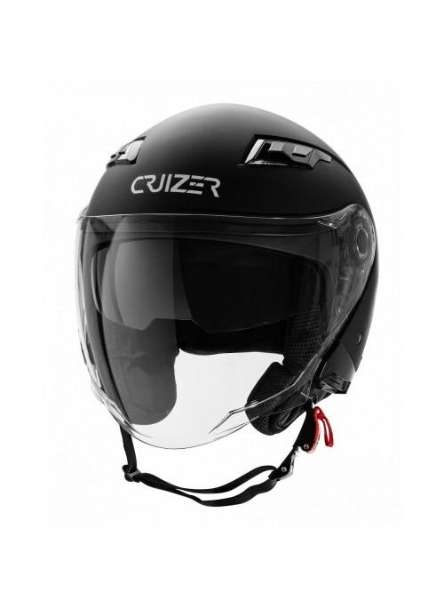 CRUIZER - Casco per moto Jet omologato di colore nero opaco con doppia visiera
