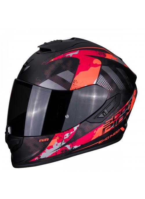SCORPION Casco Moto Strada Integrale EXO-1400 Sylex Nero Opaco Rosso