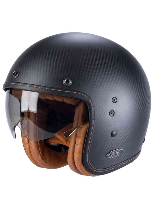 SCORPION Casco Moto Jet Custom in Carbonio Scorpion BELFAST Carbon Nero Opaco