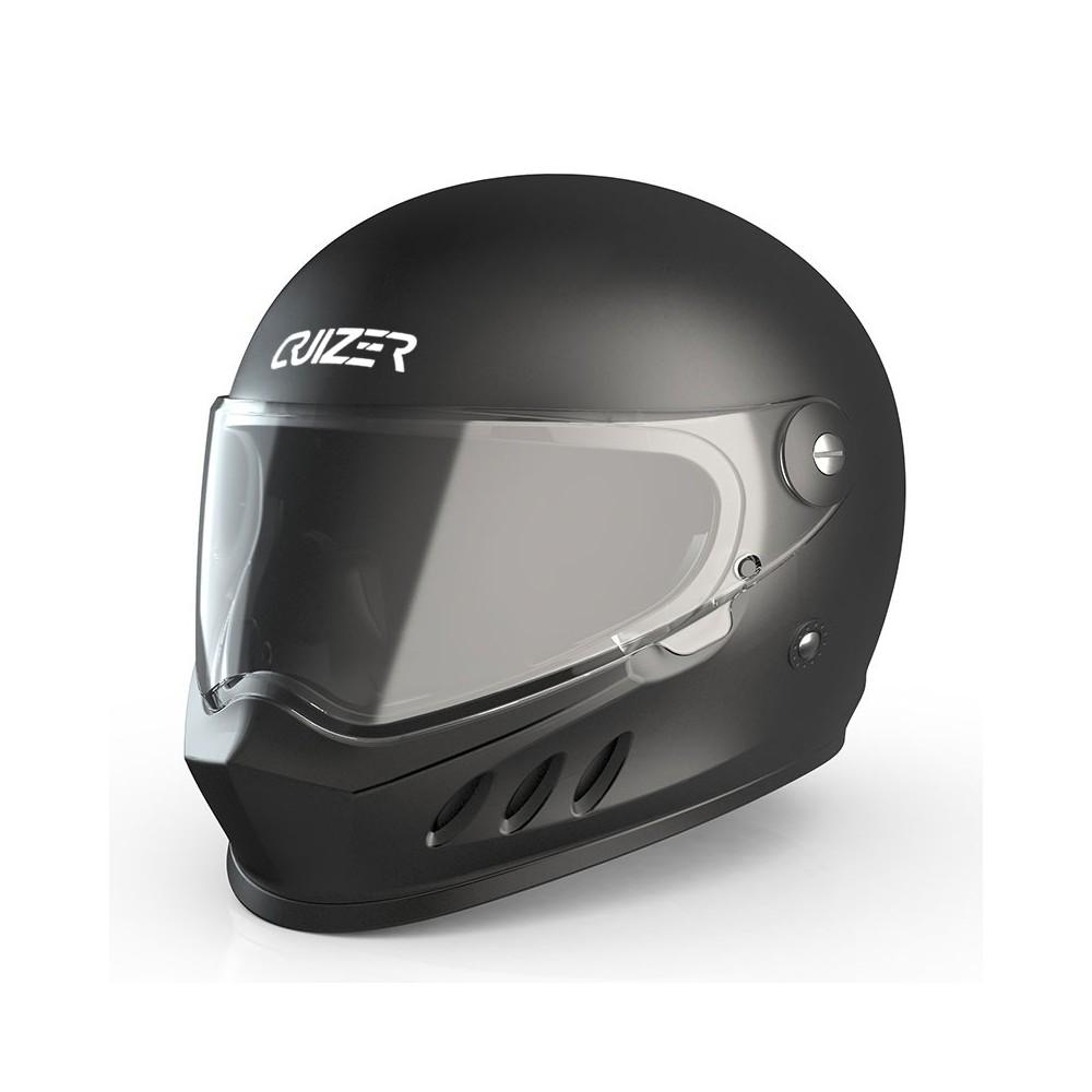 CRUIZER Casco Moto Scooter Integrale Omologato Visiera Trasparente Nero Opaco