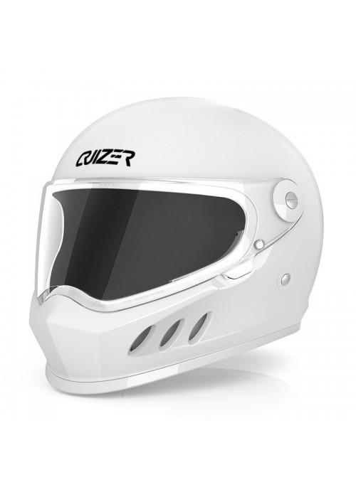 CRUIZER Casco Moto Scooter Integrale Omologato Visiera Trasparente Bianco Lucido