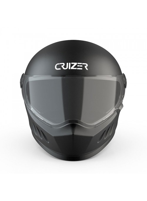 CRUIZER Casco Moto Scooter Integrale Omologato Visiera Trasparente Nero Lucido